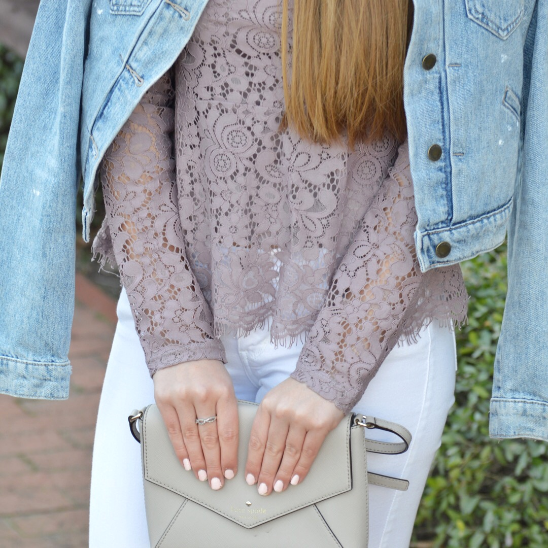 Lace Peplum Top with Jean Jacket and Kate Spade Bag