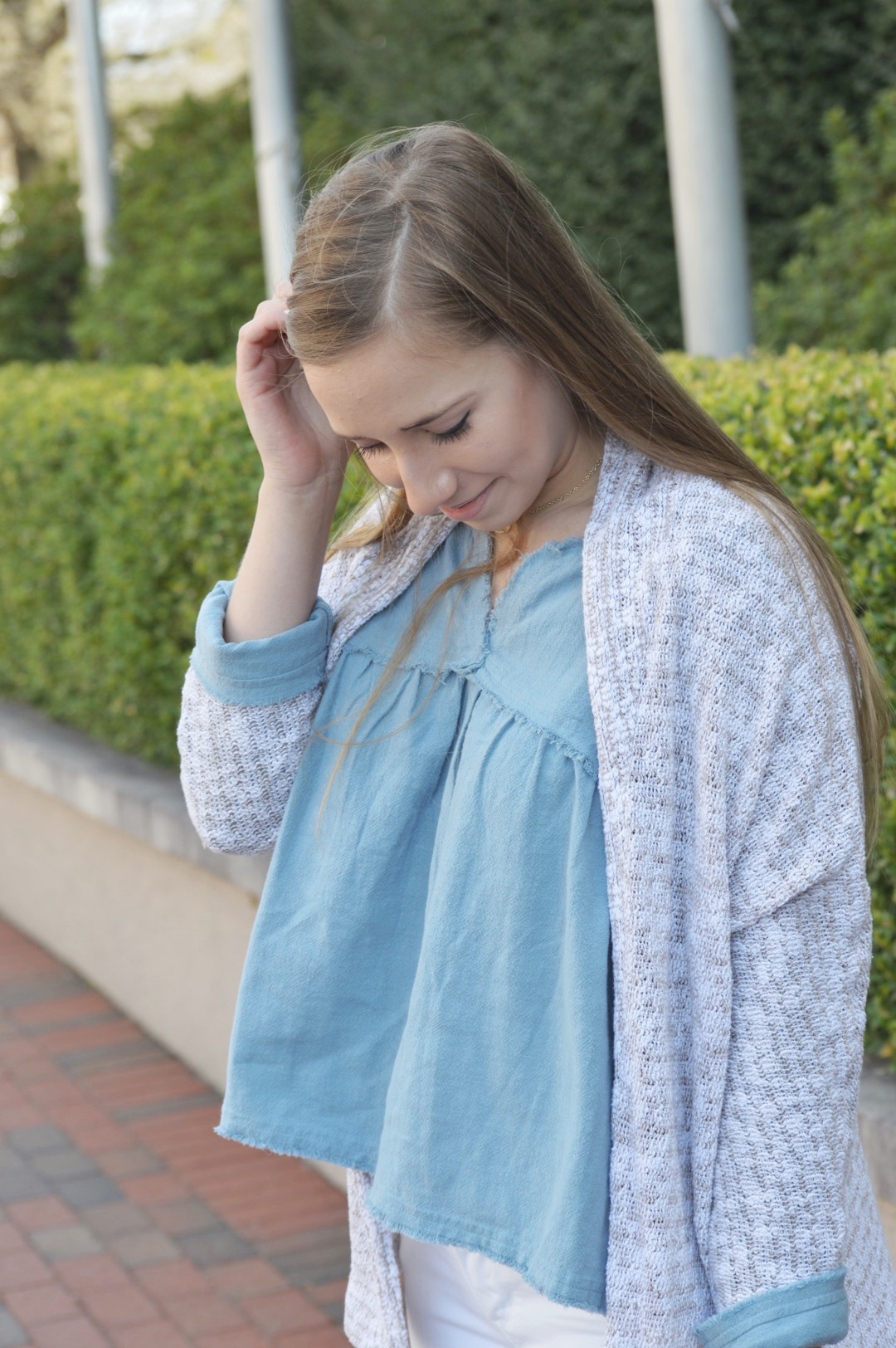 Chambray Babydoll Top with Cardigan