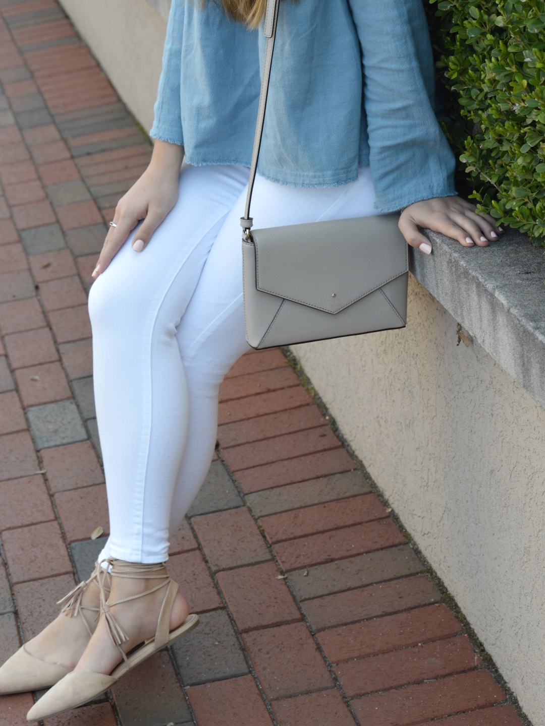 Chambray Babydoll Top with Kate Spade Bag