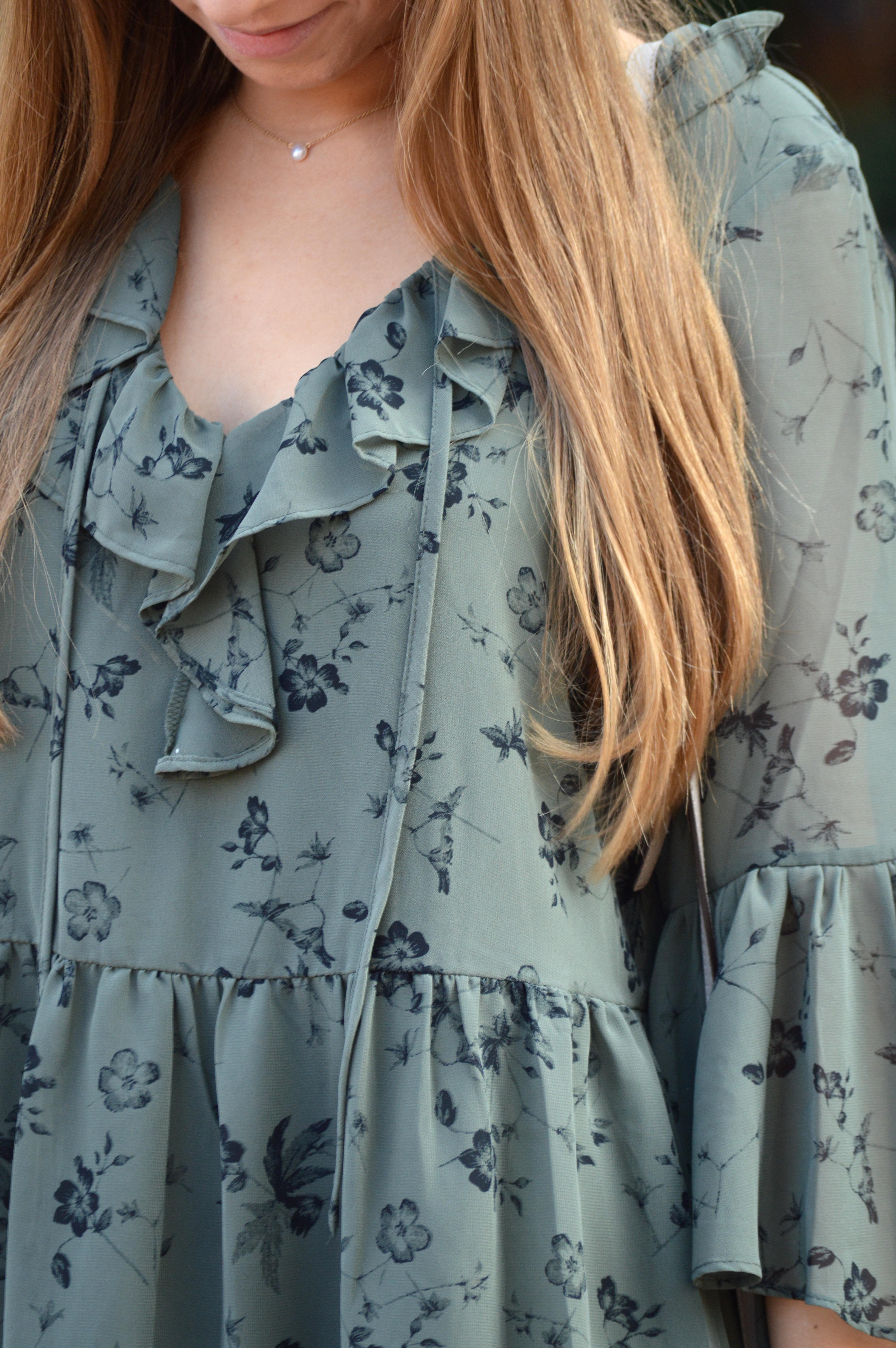 Olive Green Ruffled Print Dress