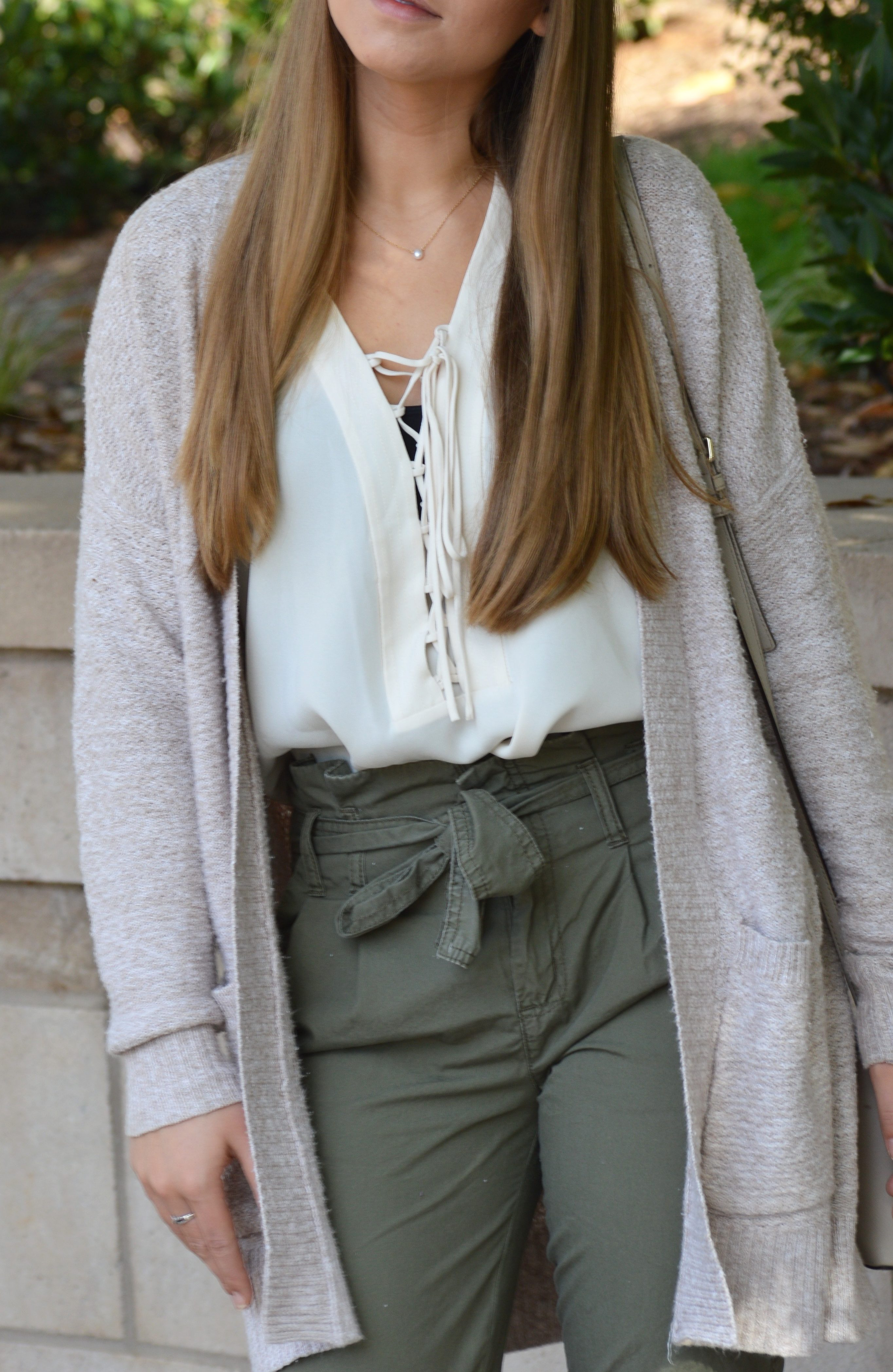 Easy Fall Outfit with Olive High-Waisted Pants