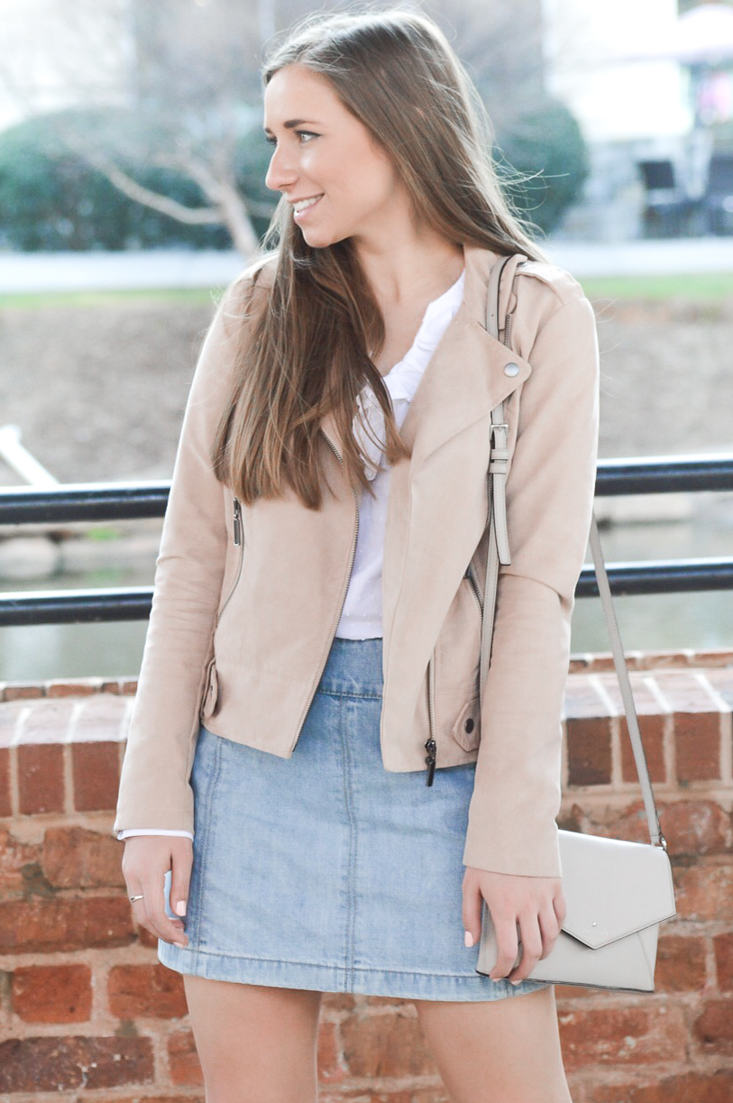 Faux Suede Moto Jacket with Ruffled White Blouse and Denim Mini Skirt