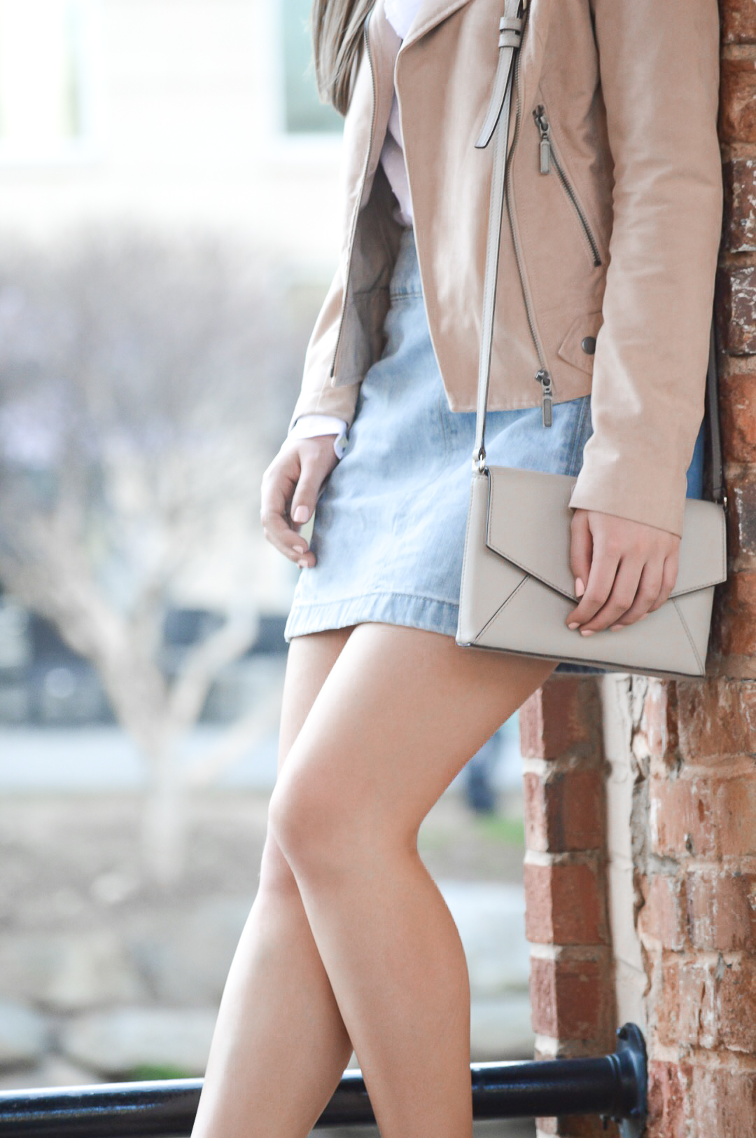 Denim Mini Skirt with Faux Suede Moto Jacket
