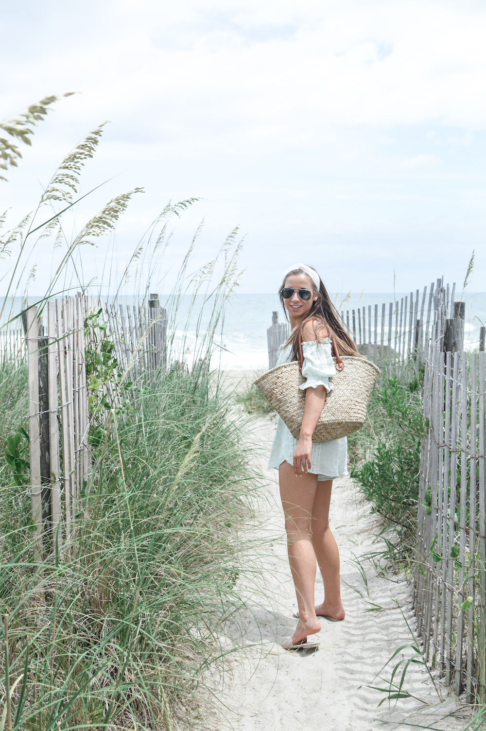 Cute Beachy Cover Up Set with Straw Beach Bag