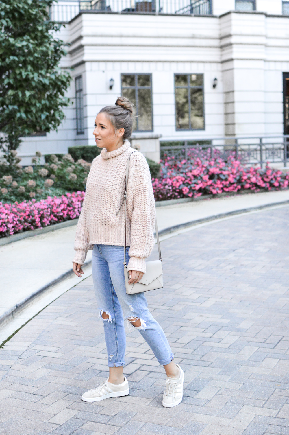 Blush Chunky Knit Sweater with Distressed Denim
