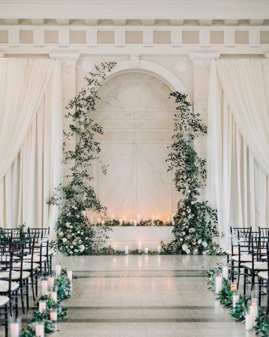 Beautiful White Brick Wedding Venue Ceremony