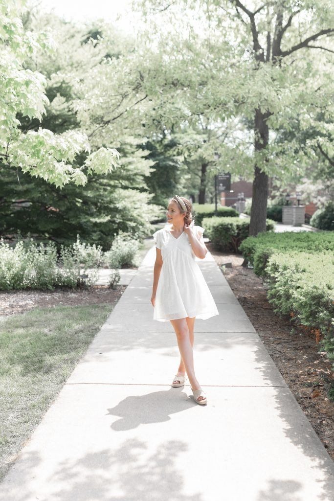 Little White Eyelet Flowy Dress