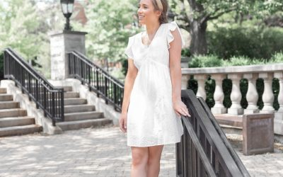 White Eyelet Dress with Ruffled Cap Sleeves