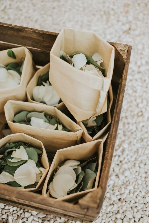 Flower Petals and Greenery for a Wedding Aisle Toss