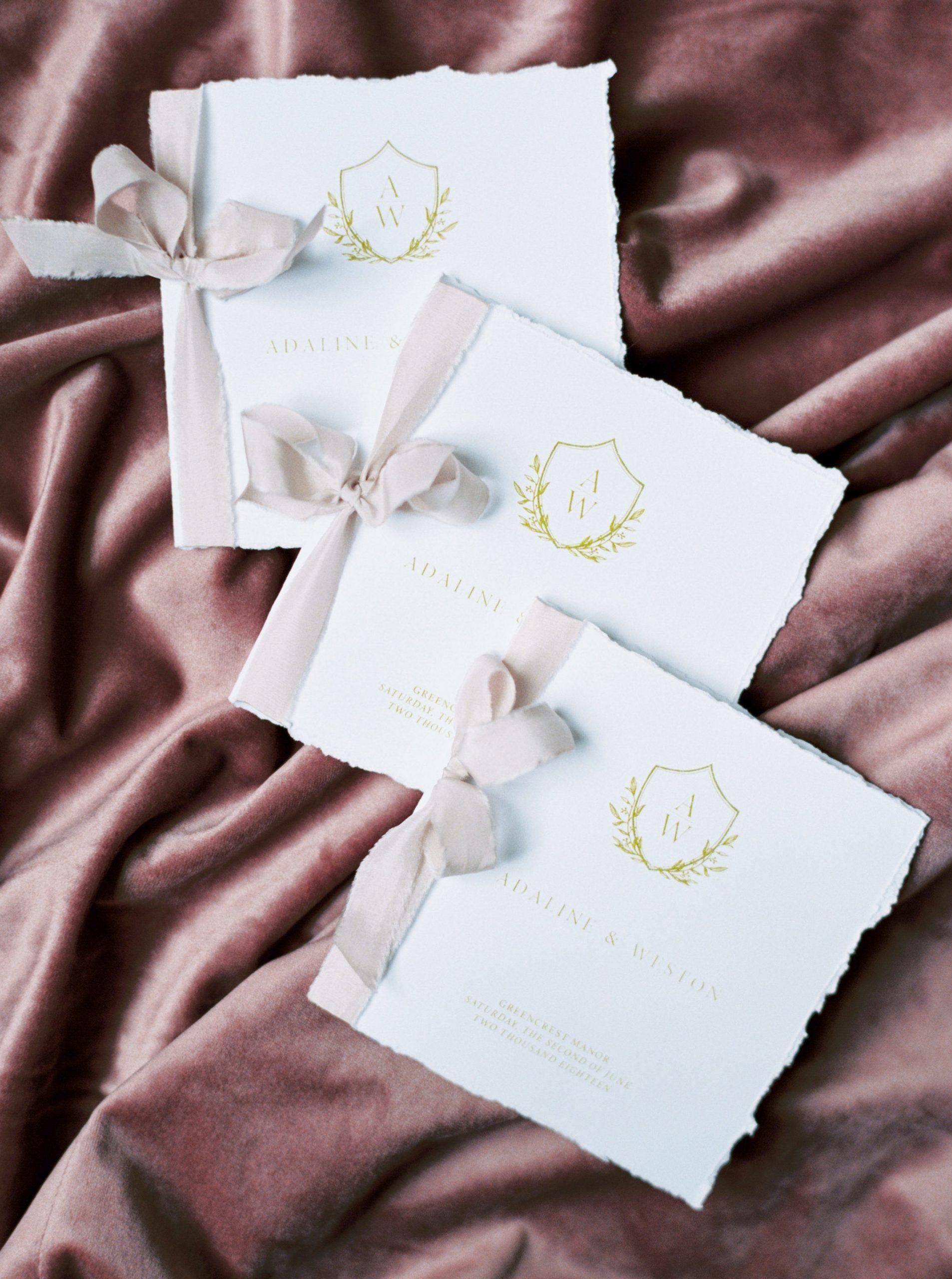 Wedding Ceremony Card with Emblem and Vintage Feminine Details