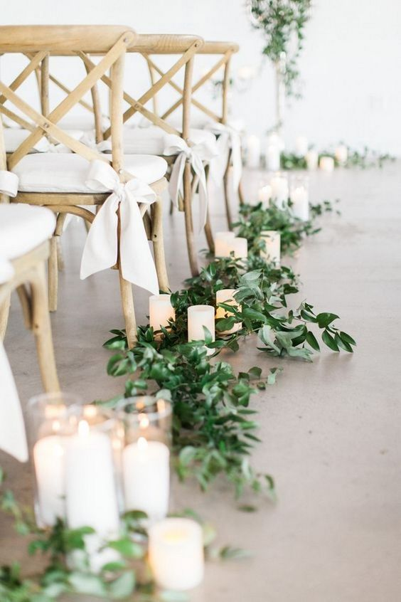 Wedding Aisle Decor with Greenery and Candles