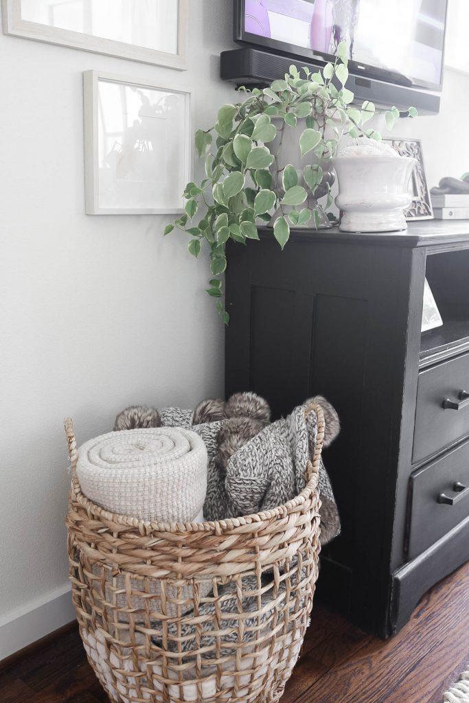 Wicker Basket of Throw Blankets