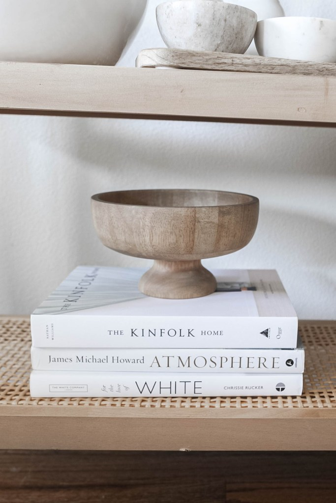Natural Wood Bowl with Home Decor Coffee Table Books