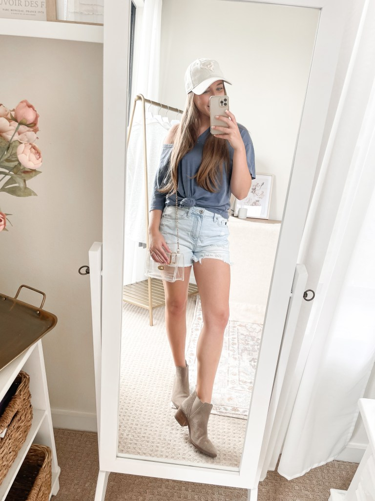 Summer Game Day Outfit with Denim Shorts and Booties