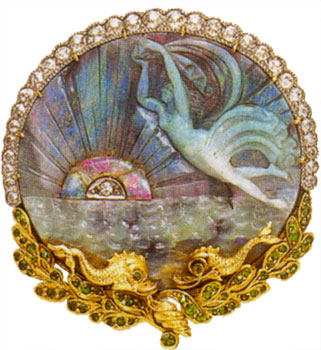 "Brooch/pendant, carved opal, demantoid garnet, diamonds, 18k yg, platinum, c. 1890, a circ carved opal depicting a sea nymph, rising/setting sun with circ-cut diamond center, and ocean waves, with grad oe diamond border above and demantoid-set yg foliate wreath border surmounted by two stylized fish below, three hidden pendant loops, sgd ""Marcus & Co."""