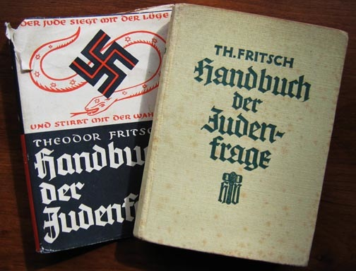 """1. Theodor Fritsch's """"Handbook of the Jewish Question"""" laid the groundwork for German anti-Semitism in 1896. When this edition was printed during the Nazi era, its cover bore a swastika. 2. Many of the flags and pins collected by people interested in Nazi artifacts were made by a company called Bernard Richter, whose 1935 catalog is shown at top."""