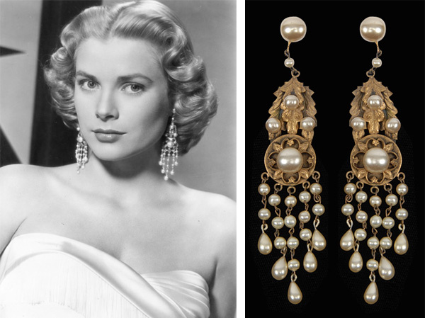 Grace Kelly Pearl Chandelier Earrings