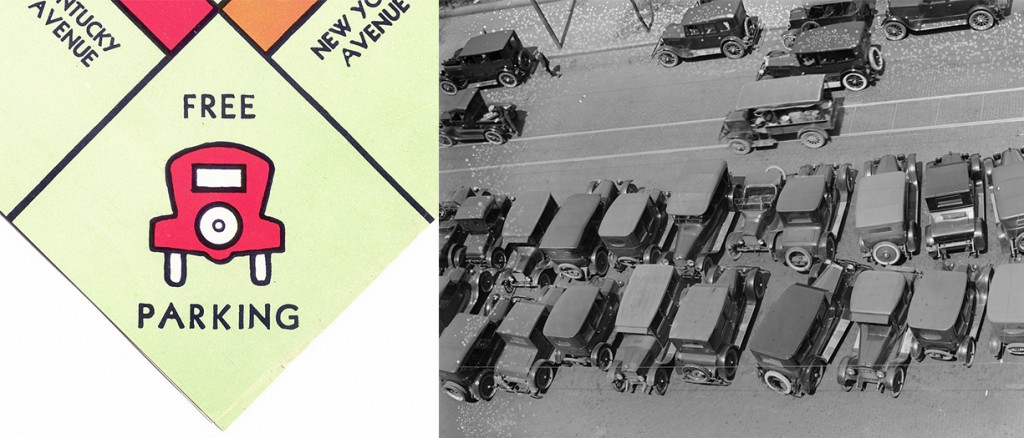 "Left: In the 1930s, Parker Brothers' earliest ""Monopoly"" sets already included the requisite space for free parking. Right: During the 1920s, an absence of restrictions meant that the majority of American city streets were devoted to free parking, rather than the flow of moving vehicles."