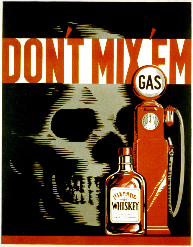 Though drunk driving has long been recognized as dangerous, seen in this WPA poster from 1937, reckless driving has been absent from most safety campaigns.