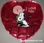 Snoopy hugging Charlie Brown 'I Love You' heart-shaped Mylar Balloon