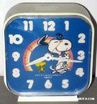 Snoopy & Woodstock dancing under rainbow Alarm Clock