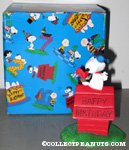 Snoopy Flying Ace on Happy Birthday Doghouse Figurine