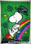 Snoopy jumping into pot of gold Flag