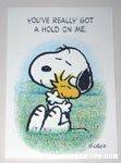 Snoopy hugging Woodstock Greeting Card