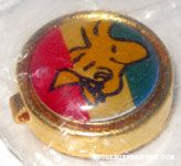 Woodstock flying on tri-color background Button Cover
