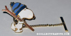 Snoopy carrying Skis Tie Tack