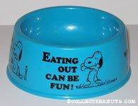 Snoopy Blue Dog Dish