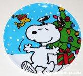 Snoopy & Woodstock dancing by Christmas Tree Plate
