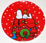 Snoopy & Woodstock on decorated doghouse Christmas Plate