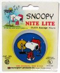 Snoopy in Nightgown carrying candle Nightlight