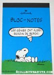Snoopy laying on rock 'Les genies ont aussi besoin de repos!' notebook