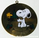 Snoopy holding Woodstock's nest with tree in it Gold-tone Enameled Ornament