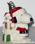Santa Snoopy and Woodstock with bag of Christmas gifts Ornament