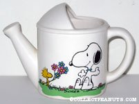 Woodstock giving Snoopy Flowers Watering Can shaped Planter