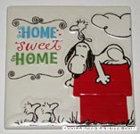 Snoopy and Woodstock on doghouse 'Home Sweet Home' ceramic tile plaque