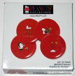 Snoopy & Woodstock Christmas scenes Red Ceramic Dessert Plates