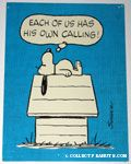 Snoopy on doghouse 'Each of us has his own calling' Postcard