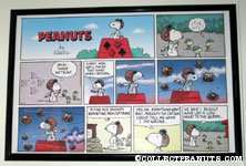 Snoopy Flying Ace and Woodstocks playing bridge Sunday Comic Strip Poster