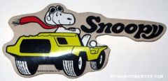 Snoopy Flying Ace driving yellow dune buggy-type car Decal
