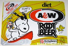 Snoopy & Woodstock surfing A&W Diet Root Beer Box Side
