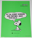 Snoopy sitting Johnny Horizon Small Poster