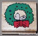 Snoopy laying in wreath Rubber Stamp