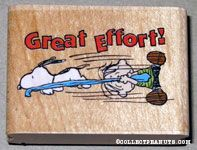 Snoopy stealing Linus' blanket 'Great Effort' Rubber Stamp