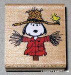Snoopy scarecrow with Woodstock Rubber Stamp