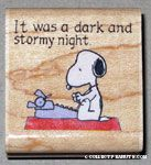 Snoopy at typewriter 'It was a Dark and Stormy Night' Rubber Stamp