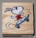 Joe Cool on Skateboard Rubber Stamp